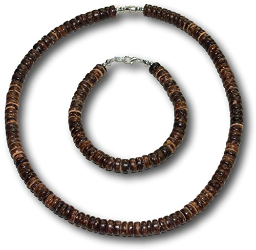 - Native Treasure - 2pc Set 8mm Brown Wood Coco Shell Surfer Necklace and Bracelet (18.8)