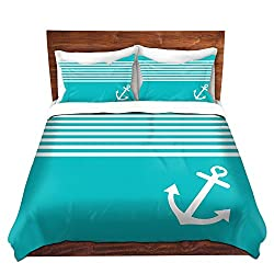 Duvet Cover Brushed Twill Twin, Queen, King from DiaNoche Designs by Organic Saturation Home Decor and Bedding Ideas - Teal Love Anchor Nautical