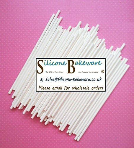 MisterChef 4 lollipop sticks pack of 100 v2 White