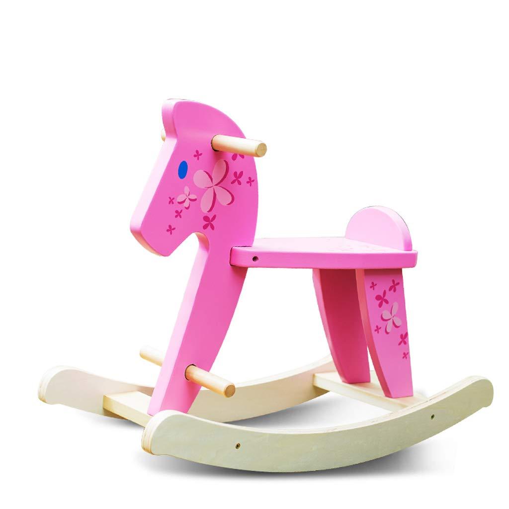 Cavallo a dondolo LINGZHIGAN Bambini Cavallo di Legno Semplice Sedia a Dondolo in Legno massello Piccolo Cavallo di Legno Giocattolo per Bambini