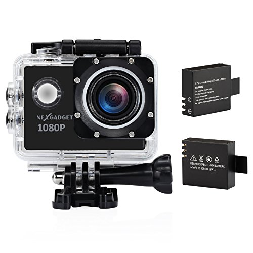 NexGadgetアクションカメラ スポーツカメラ 1080P フルHD高画質 170度広角レンズ 1 5インチ液晶 30M防水 ウェアラブルカメラ