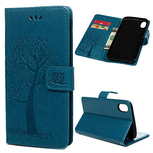 """Price comparison product image iPhone Xs Max Case 6.5"""", Wallet Flip Folio Case Kickstand Card Slots Wrist String Embossed Cute Owl Tree PU Leather Wallet Case Shockproof Soft TPU Rubber Bumper Slim Wallet Case for iPhone Xs Max"""