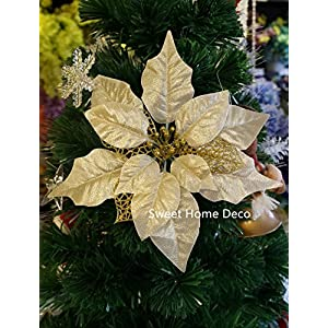 Sweet Home Deco 9''W Silk Shinning Sprakled Poinsettia Artificial Flower Heads (Set of 5) Christmas Decorations 2