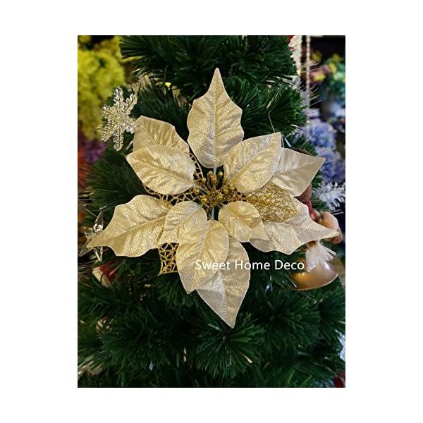 "Sweet Home Deco 18"" Silk Poinsettias Artificial Flower Bush Christmas Decorations (5 Stems/ 5 Flower Heads) (Gold)"