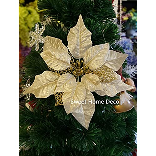 sweet home deco 10 silk poinsettias artificial flower heads christmas holiday decorations 5 flower heads gold - Christmas Tree Flower Decorations