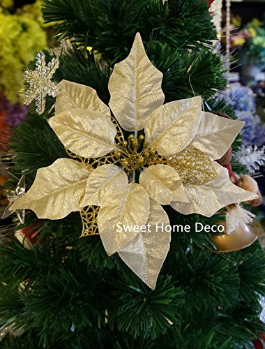 Sweet Home Deco 18'' Silk Poinsettias Artificial Flower Bush Christmas Decorations (5 Stems/ 5 Flower Heads) (Gold)