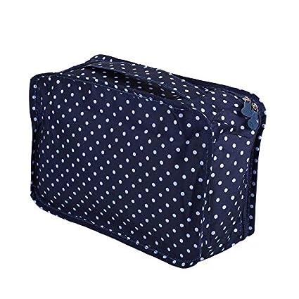 6pcs Punto azul oscuro set Juego de bolsas de almacenamiento de viaje para la ropa Organizador ordenado Maleta Maletero del hogar Contenedor divisor Embalaje Bolsa de lavander/ía