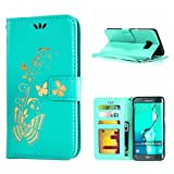 MOONCASE Galaxy S6 Edge+ Case, Bronzing Butterfly Pu Leather Wallet Pouch Etui Flip Kickstand Case Cover for Samsung Galaxy S6 Edge Plus Bookstyle Folio [Shock Absorbent] TPU Case with Photo Frame Mint Green