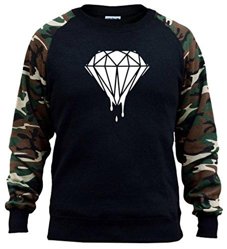Men's Dripping Diamond V293 Black/Camo Raglan Baseball Sweatshirt Medium Black