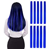 Colored Clip in Hair Extensions 22' 10pcs Straight Fashion Hairpieces for Party Highlights Blue