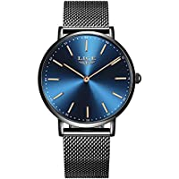 LIGE Mens Waterproof Ultra Thin Analog Quartz Watch with Stainless Steel Milanese Mesh Band Gents Fashion Casual Dress Wrist Watch Black Blue