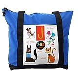 Lunarable ABC Kids Shoulder Bag, Jellyfish Jackal Jaguar J, Durable with Zipper