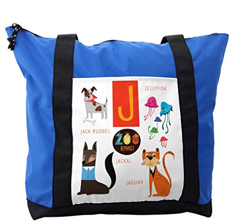 Lunarable ABC Kids Shoulder Bag, Jellyfish Jackal Jaguar J, Durable with Zipper by Lunarable