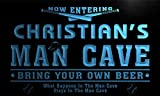 qb1564-b Christian's Man Cave Baseball Bar Neon Sign