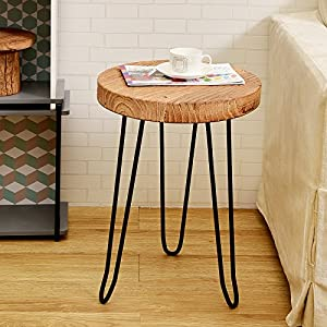 welland round old elm wood end table with 3leg metal stand