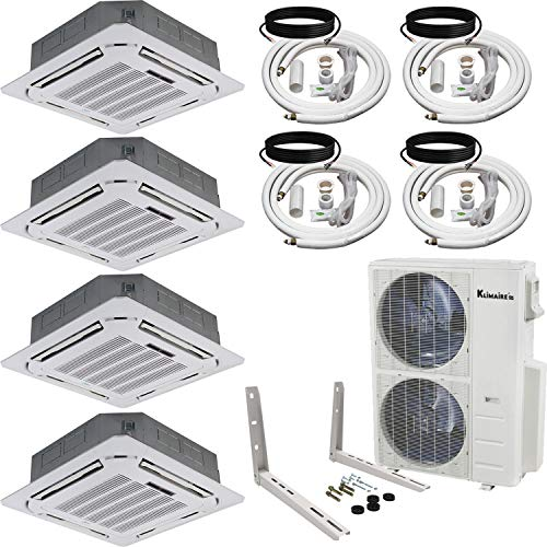 Klimaire 4-Zone (12+12+18+24) Kbtu 21.5 SEER Ducted Recessed Multi-Zone Inverter Air Conditioner Heat Pump with Outdoor Unit Mounting Bracket and Easy Connect Kits