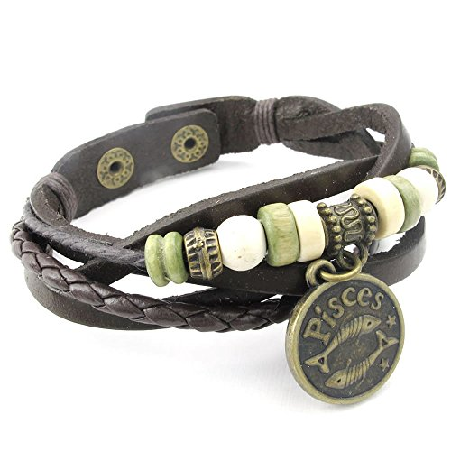 KONOV Womens Leather Bracelet Adjustable