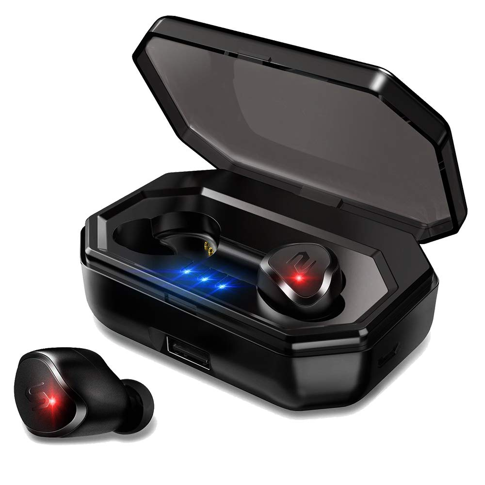Bluetooth Wireless Earbuds, Bluetooth 5.0 Total-Wireless Earphones With 3000mAh Charging Case, 3D Stereo Noise Canceling Sweatproof Sport Bluetooth In-Ear Headset Built-in Mic - Black