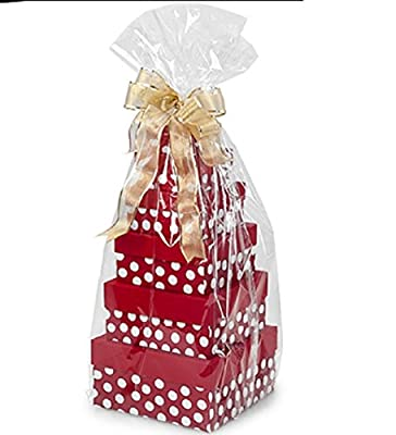 10 Clear Cello/cellophane Basket Bags - 20 x 30 inch Large Gift Packaging (Free Sample Sticker )