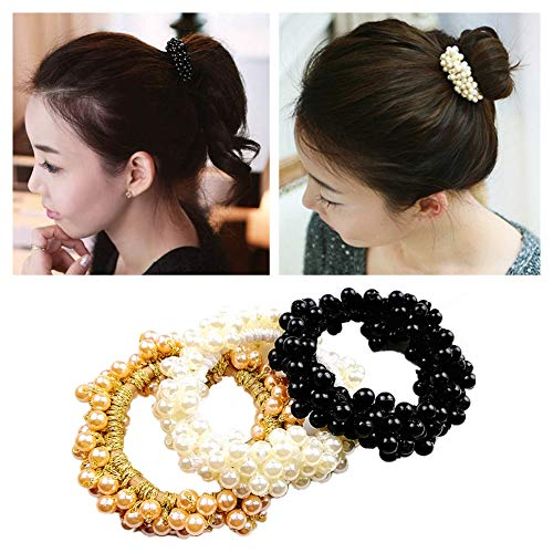 Lovef 3 Pcs Fashion Women Pearls Beads Hair Band Rope Scrunchie Ponytail Holder ()