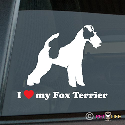 I Love My Fox Terrier Sticker Vinyl Auto Window smooth wire (Smooth Fox Terrier Sticker)