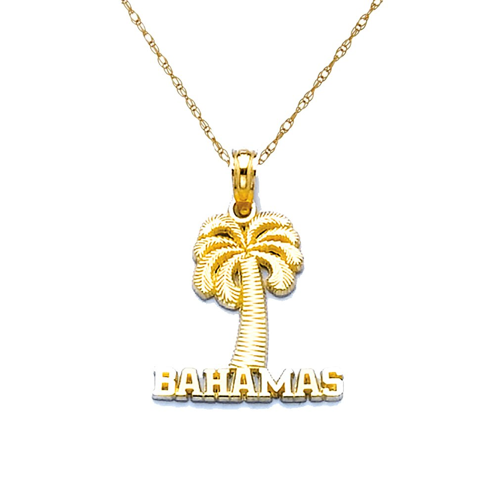 14k Yellow Gold Travel Necklace Pendant, Bahamas Under Palm Tree with 18 Inch Rope Chain by Million Charms