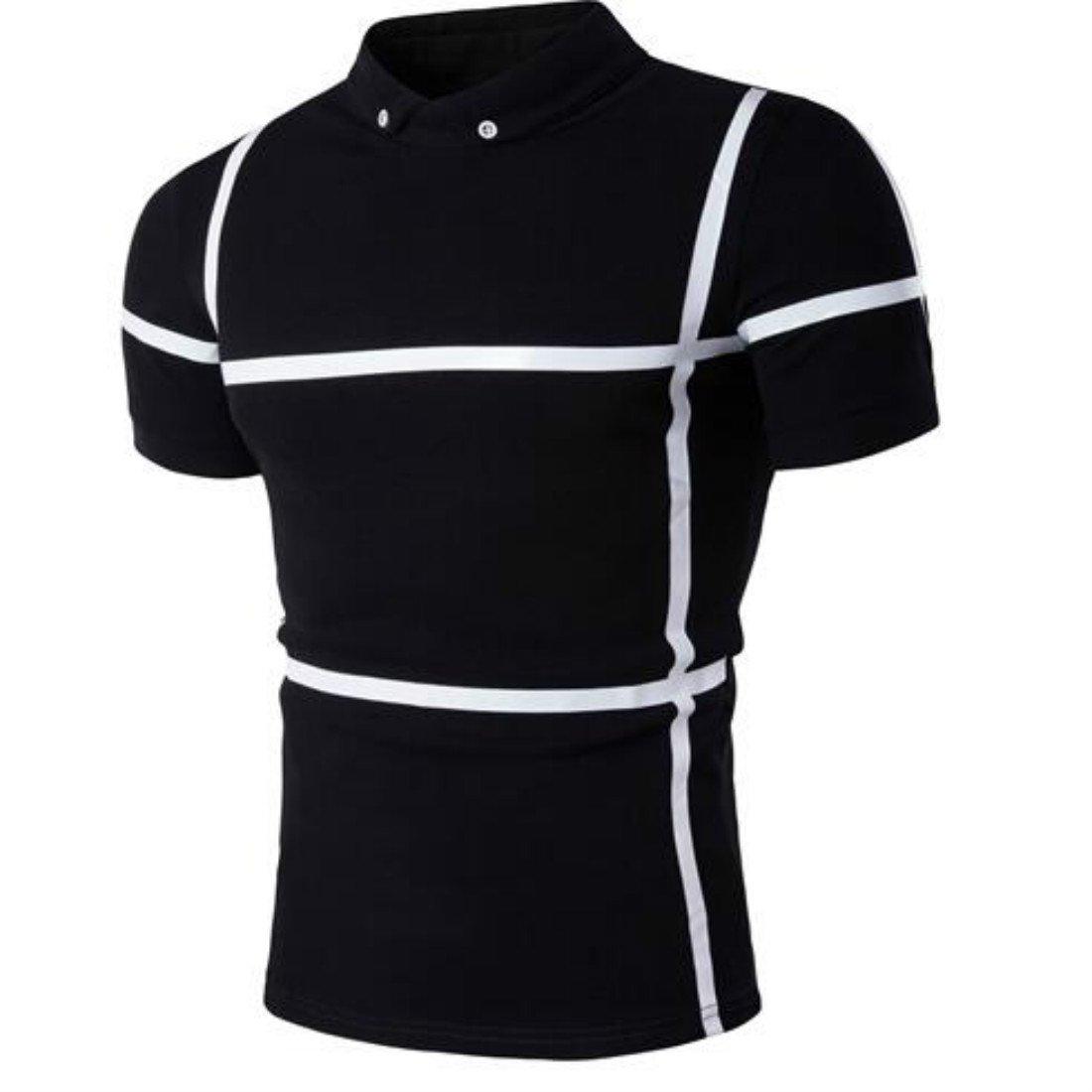 Colygamala Men Classic Short Sleeve Stripe Polo Shirt Casual Fashion Shirt