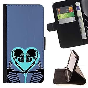 Momo Phone Case / Flip Funda de Cuero Case Cover - Corazón del amor Esqueleto Cráneo púrpura azul - Sony Xperia M4 Aqua