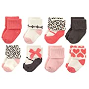 Luvable Friends Baby 8 Pack Newborn Socks, Leopard, 0-6 Months