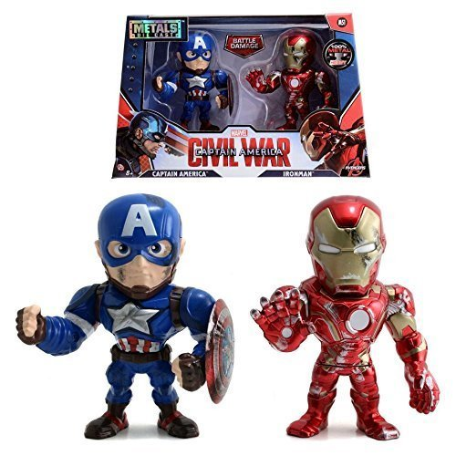 "JADA 4"" METALS CAPTAIN AMERICA CIVIL WAR - TWIN PACK FIGURES WITH BATTLE DAMAGE"