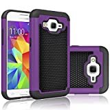 Core Prime Case, Tekcoo(TM) [Tmajor Series] [Purple/Black] Shock Absorbing Hybrid Rubber Plastic Impact Defender Rugged Hard Protective Case Cover Shell For Samsung Galaxy Core Prime / Prevail LTE