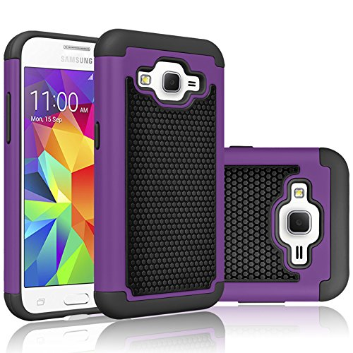 Core Prime Case, Tekcoo(TM) [Tmajor Series] [Purple/Black] Shock Absorbing Hybrid Rubber Plastic Impact Defender Rugged Hard Protective Case Cover Shell for Samsung Galaxy Core Prime/Prevail LTE