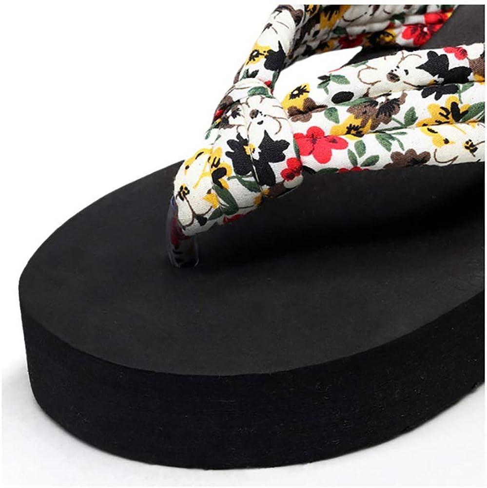 JULAN Womens Beach Sandals Slippers Floral Summer Satin Wedge Flip Flops