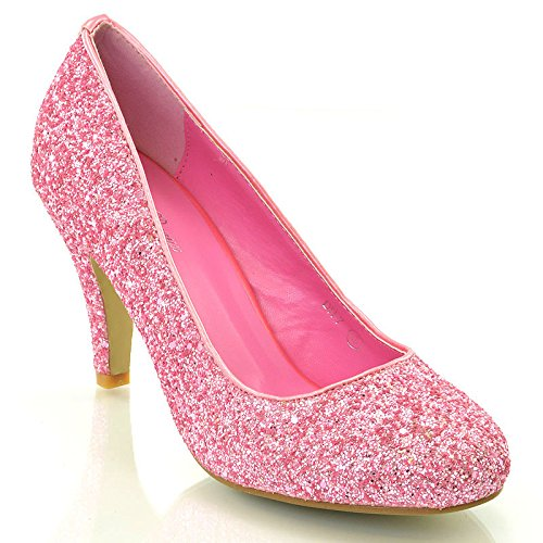 ESSEX GLAM Women's Bridal wedding Low Heel Sparkly Prom Party Court Shoes Pink Glitter