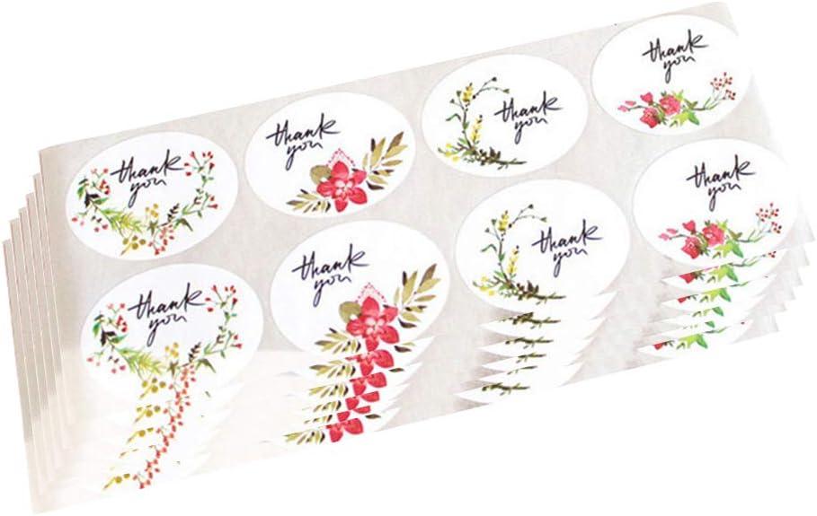VORCOOL 10 Hoja Pegatinas de Gracias de Flor Etiquetas Adhesiva para Embalaje de Regalo de DIY Bolsa