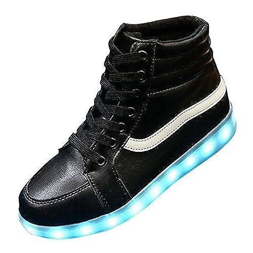 53694577ea36 chic 7 Colors High Top LED light USB charging Hip-Hop shoes Fashion dance  Sneakers for Women Men