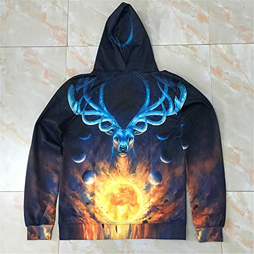 Celestial by JoJoes Art Magic Deer,Hooded Sweatshirts Men Women,3D Hoodies Printed Novelty Pullover Funny Tracksuit by Francis4 (Image #4)