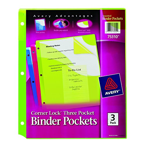 Nice Avery Corner Lock Binder Pockets Fits 3-Ring Binders with Three Assorted Pockets, Blue, Green, Pink (75310) hot sale