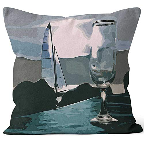 Wineglass and Sailboat in at Night Throw Pillow Cushion Cover,HD Printing Decorative Square Accent Pillow Case,36