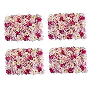 Fenteer Pack of 4 Simulation Silk Flower Wall Panel Mat Home Shop Window Showcase Hanging Wedding Venue Background Decor Rose Pink 43