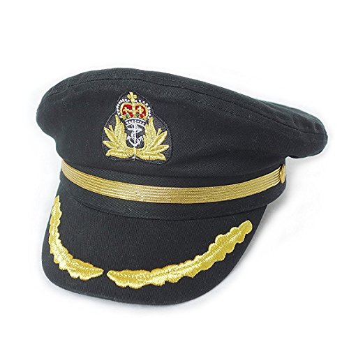 [Ibeauti Unisex Adjustable Captain Costume Admiral Hat Cosplay Black Sailor Cap ( Black )] (Ship Captain Costumes)
