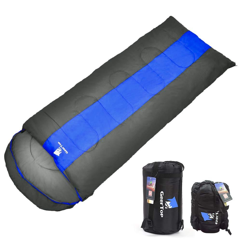 GEERTOP 寝袋 封筒型 コンパクト 収納 シュラフ スリーピングバッグ キャンプ 登山 アウトドア用 最低使用温度0℃ 丸洗いOK M Lサイズ B014AET7AA ブルー L(220 x 85cm)