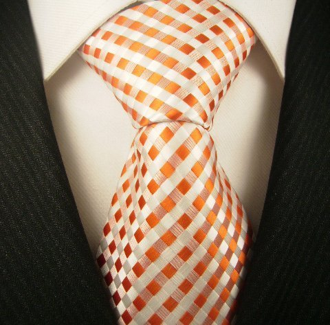 Checkerboard Ties for Men - Woven Necktie - Orange -