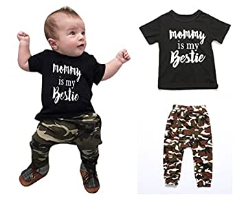 Angelchild Baby Toddler Boy Short Sleeve T-Shirt Tops and Long Pants Outfit Set Mama 70 Black