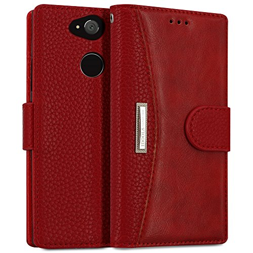 IDOOLS Leather Wallet Phone Case for Sony Xperia XA2 Ultra, Folding Flip Cases Protective Cover Strong Magnetic Closure Protector with Card Slots Kickstand (Red, 6.0)