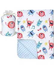 "Bundled Joy Baby Gifts - Premium Soft Plush Lightweight Minky Dot Toddler Baby Newborn Blanket 30""x40"" (Monster Light Blue)"