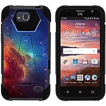 TurtleArmor   ZTE Majesty Pro Case [Dynamic Shell] Hybrid Dual Layer Hard Shell Kickstand Silicone Case - Colorful Nebula Galaxy