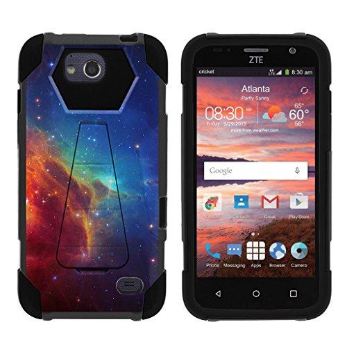 TurtleArmor | ZTE Majesty Pro Case [Dynamic Shell] Hybrid Dual Layer Hard Shell Kickstand Silicone Case - Colorful Nebula Galaxy