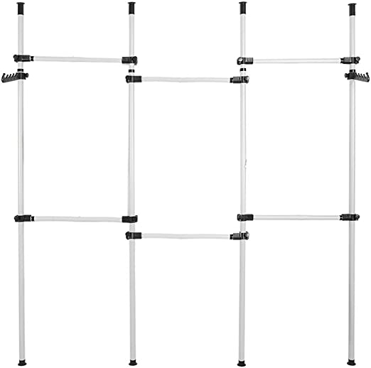 EBTOOLS Organizador de Armario Telesc/ópico Perchero de Ropa Telesc/ópico Altura Ajustable con 2 Ganchos Carga de 60Kg por Barra