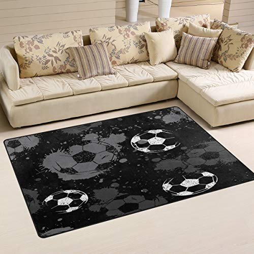 WOZO Abstract Soccer Sport Ball Area Rug Rugs Non-Slip Floor Mat Doormats Living Room Bedroom 60 x 39 inches
